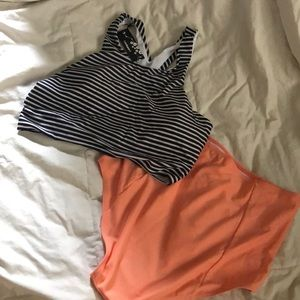 NWT High wasted two piece stripped &coral swimsuit